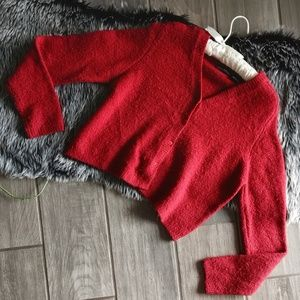 Anthropologie fuzzy red cropped sweater